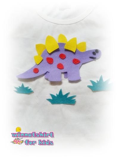 เสื้อยืดเด็ก ลายไดโนเสาร์สีม่วง Size S