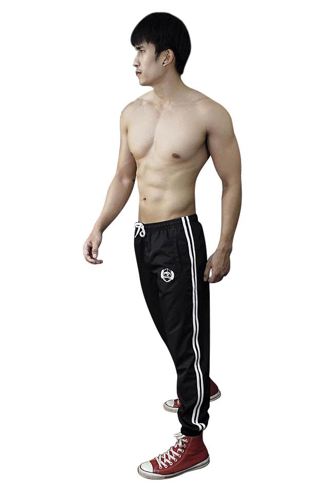 กางเกงขายาว ผ้าร่ม รุ่นมีแถบ