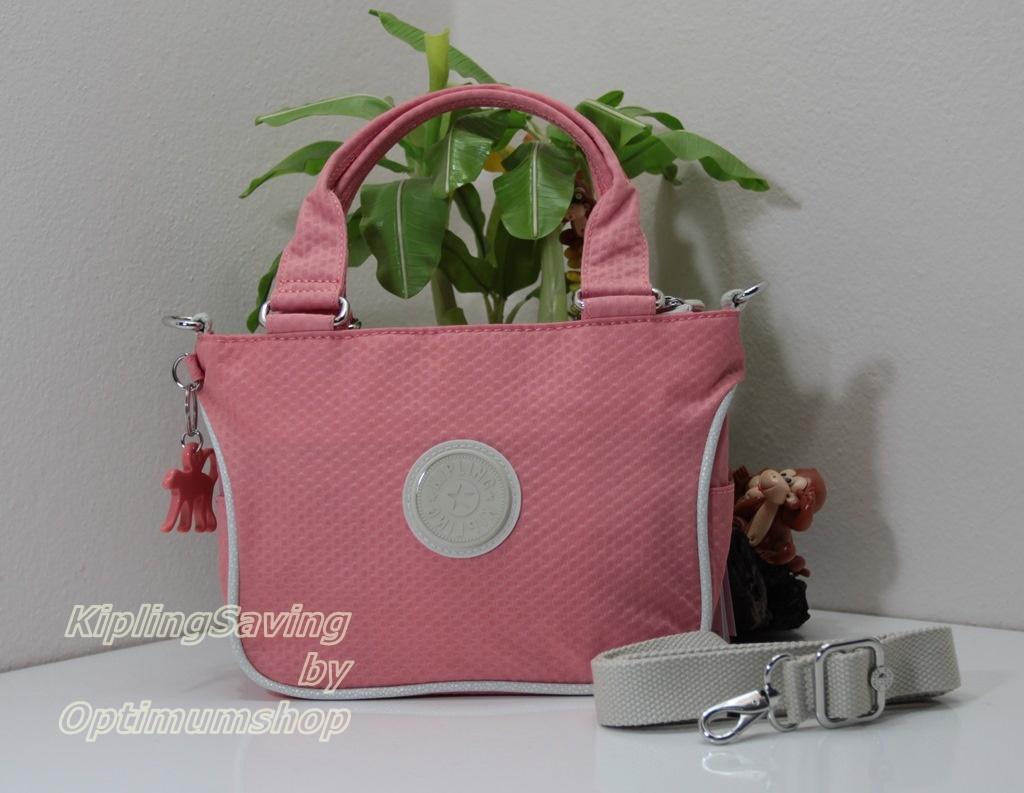 Kipling Emmalee S Dots Shell Pink กระเป๋าใบเล็ก หิ้วได้ สะพายได้ ขนาด 20 W x 15.5 H x 11.5 D cm Small