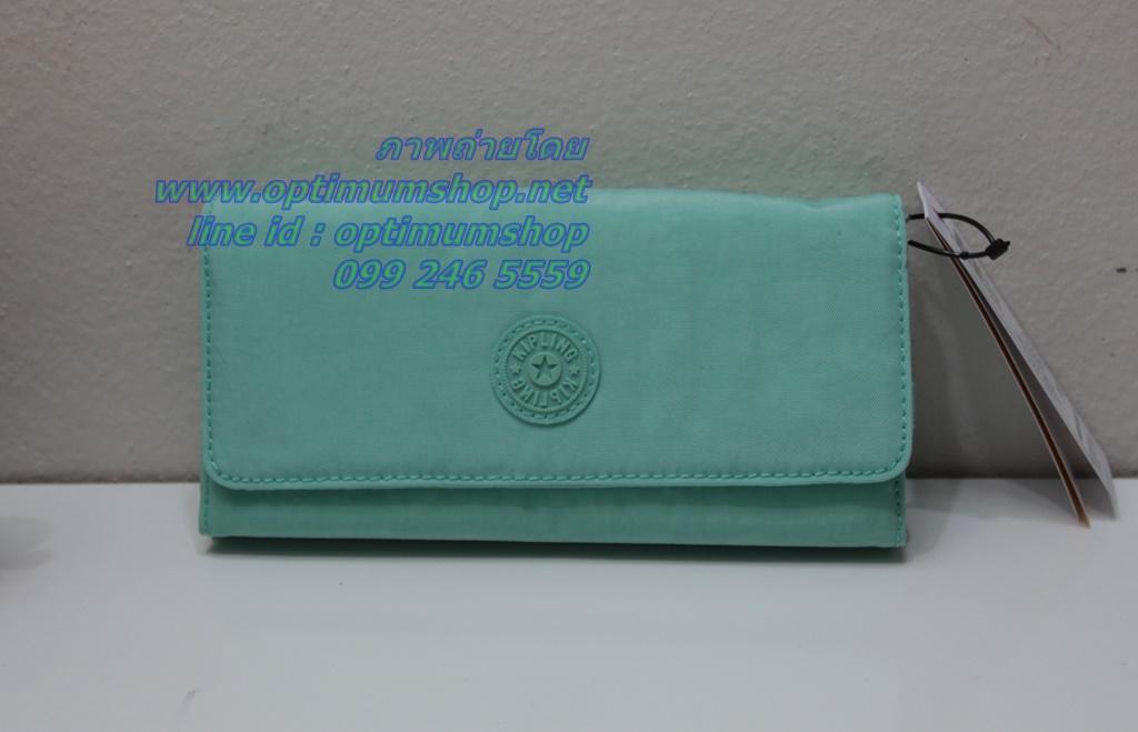 Kipling New Teddi Seafoam Green หรือชื่อเดิม Brownie กระเป๋าสตางค์ใบยาว ขนาด 7.5x3.75x1xนิ้ว