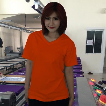 เสื้อยืดคอวี สีส้ม รอบอก 42 นิ้ว เบอร์ XL