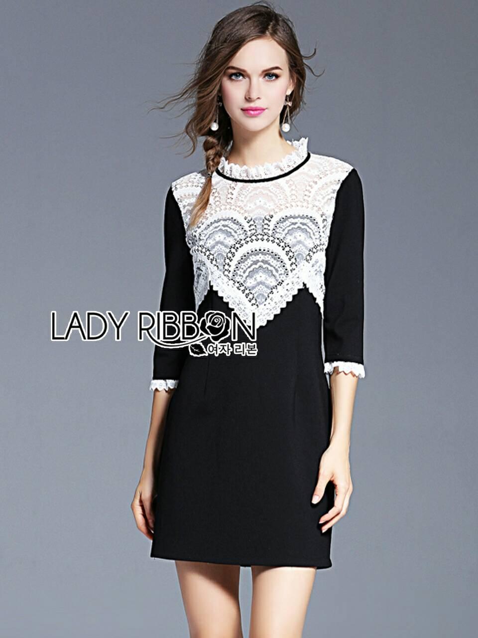 มินิเดรสสีดำตกแต่งลูกไม้สีขาวทรงคอสูงดีไซน์วินเทจ แขนสี่ส่วน มี S M by Lady Ribbon