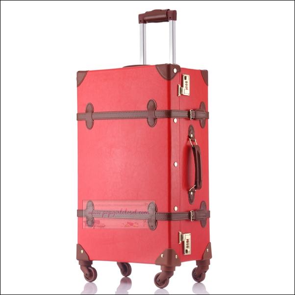 """กระเป๋าเดินทางดีไซน์วินเทจสไตล์เกาหลี วินเทจอัพเกรด 4 ล้อ """"RED/BROWN"""" Vintage Retro Suitcase Korea Style ไซส์ 20"""", 22"""", 24"""" หนัง PU (Pre-order) ราคาสินค้าอยู่ด้านในค่ะ"""