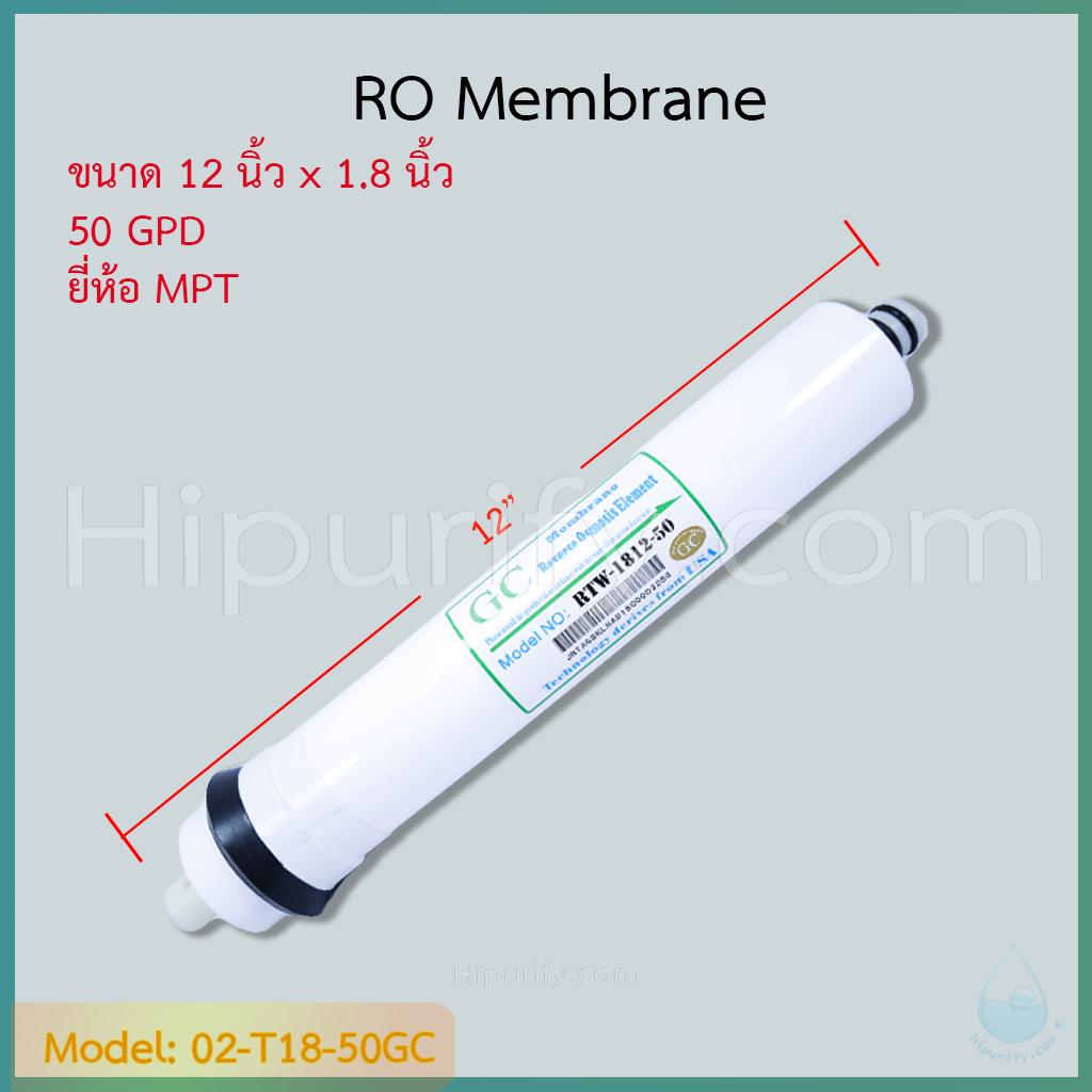 ไส้กรอง RO Membrane 50 GPD ยี่ห้อ GC By MPT ชิ้น/ลัง