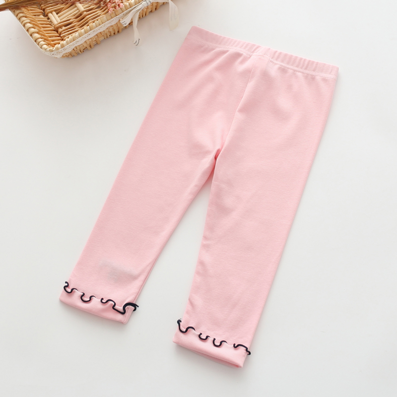 W029 : กางเกงขายาวสีชมพูแต่งปลายขา (2,5)
