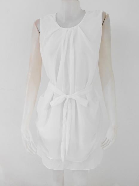 1201364 ขายส่งเสื้อผ้าแฟชั่นชุดเดรสผ้าชีฟองมีซับในตัว งานสวย สม๊อกเอว รอบอก 38 นิ้ว ยาว 35 นิ้ว