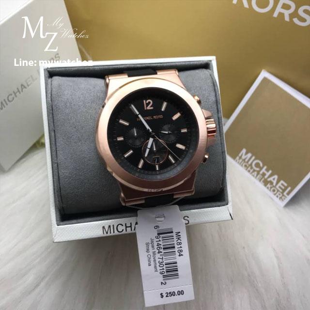 นาฬิกาข้อมือ MICHAEL KORS รุ่น Dylan Chronograph Black Dial Black Rubber Men's Watch MK8184