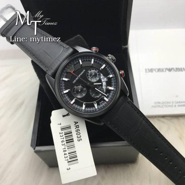 EMPORIO ARMANI Sportivo Black Dial BlackLeather Strap Men's Watch AR6035