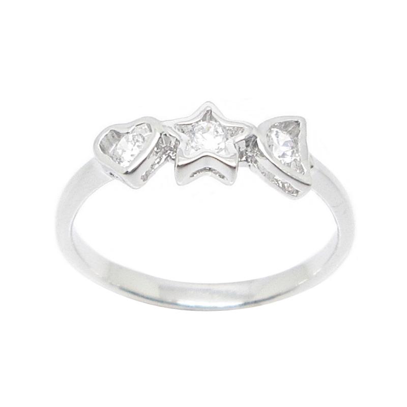 แหวนรูปหัวใจ-ดาว-พระจันทน์เสี้ยวประดับเพชรชุบทองคำขาว