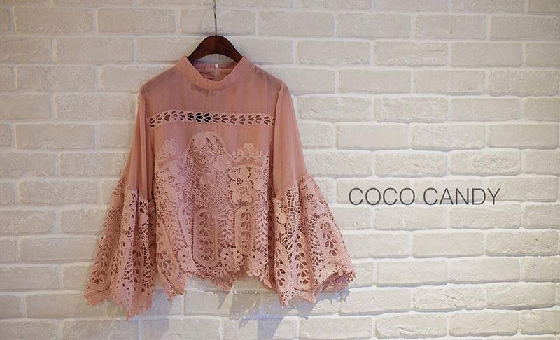 เสื้อลูกไม้แฟชั่น Lady Gorgeous Lace Top สีชมพูกะปิ