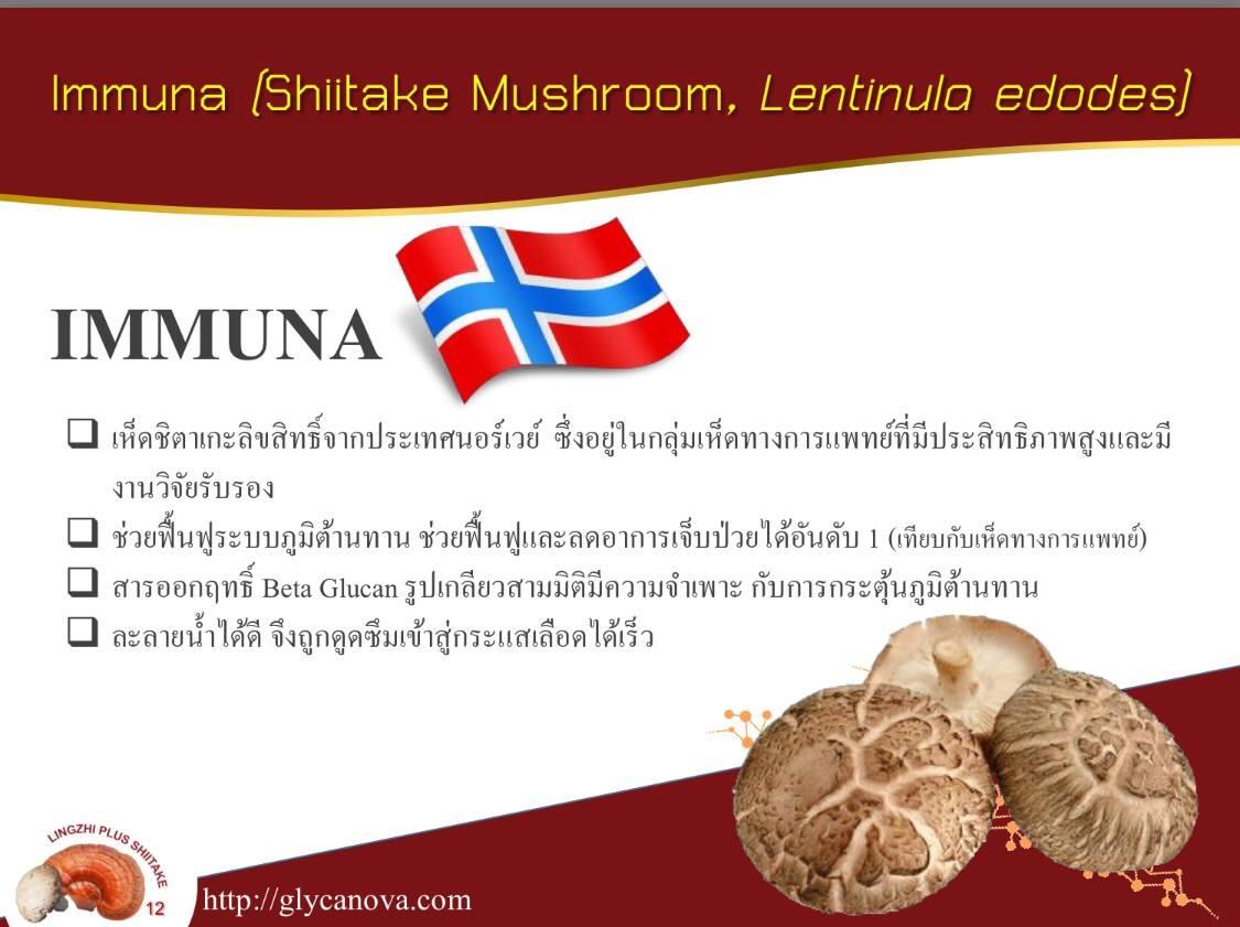 """หลินจือ พลัส ชิตาเกะ มีส่วนผสมของ """"อิมมูนา / Immuna"""""""