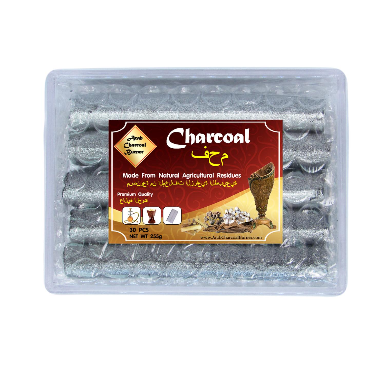 Arab Charcoal Burner ถ่าน ถ่านเผา ถ่านไม้ ถ่านพิเศษ ถ่านชาโคล สำหรับจุดไฟเผา ชิช่า บารากุ ทำจากธรรมชาติ 100% ไร้กลิ่น ไร้ควัน ไม่มีประกายไฟ ปลอดภัย ไร้สารเคมี จุดนานถึง 4-5 ชมต่อชิ้น - 1 กล่อง