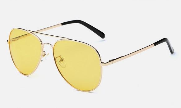แว่นตา/คลิปออน ไนท์วิชั่น (Night Vision Glasses/Clip on) ทรงนักบิน(Aviator) เหมาะสำหรับใส่ตอนขับรถตอนกลางคืน