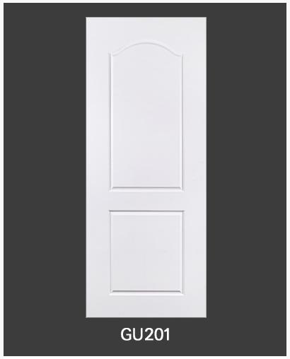ประตู uPVC 2 ช่องโค้งเรียบ GU-001/201 80*200 สีขาว เจาะลูกบิด Green Plastwood