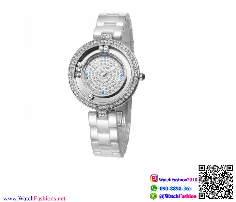 นาฬิกาข้อมือแฟชั่นนำเข้า ผู้หญิง WEIQIN Silver สาย เซรามิก สวยหรู กันน้ำ + รับประกัน