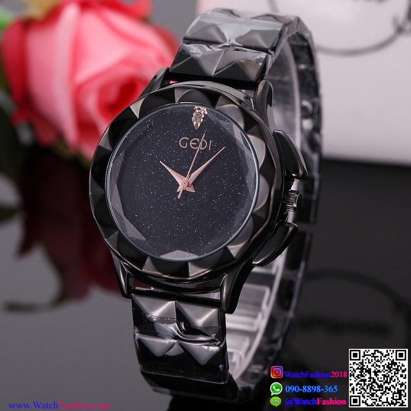 นาฬิกาข้อมือแฟชั่นนำเข้า ผู้หญิง GEDI สีดำ กันน้ำ + ของแท้