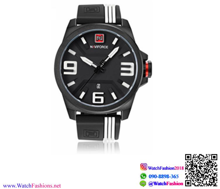นาฬิกาข้อมือแฟชั่น ผู้ชาย NAVIFORCE สีดำสายแถบขาว สายซิลิโคน กันน้ำ + ของแท้