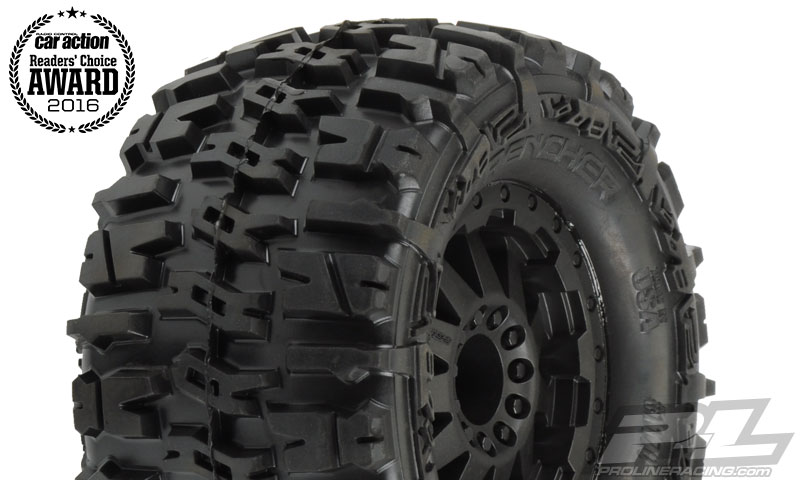"Trencher 2.8"" (Traxxas Style Bead) All Terrain Tires Mounted for JATO, Nitro Stampede/Rustler Rear or Electric Stampede/Rustler Front and PRO-MT, Stampede 4X4 Front and Rear. Mounted on F-11 Black Wheels"