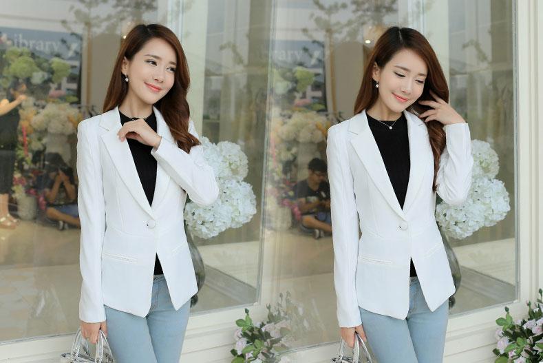 เสื้อสูทผู้หญิงแฟชั่นสีขาว แบบสวยหวานสไตล์เกาหลี 5 ไซส S/M/L/XL/2XL รหัส CB-1853 รหัสสินค้า CB-1853 หมวดหมู่ เสื้อสูทผู้หญิง