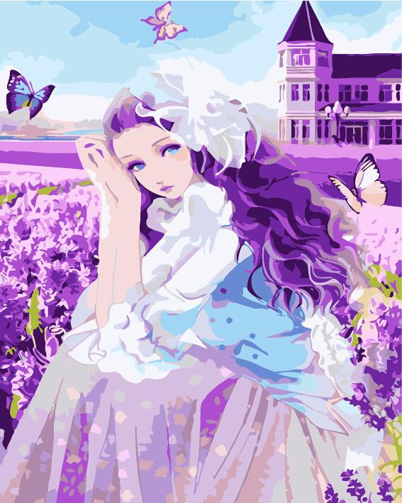 """MG624 ภาพระบายสีตามตัวเลข """"สาวน้อยกับทุ่งดอกไม้สีม่วง"""""""