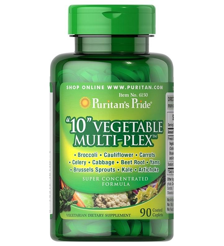 "Puritan's Pride ""10"" Vegetable Multi-Plex™ 500 mg / 90 Caplets"