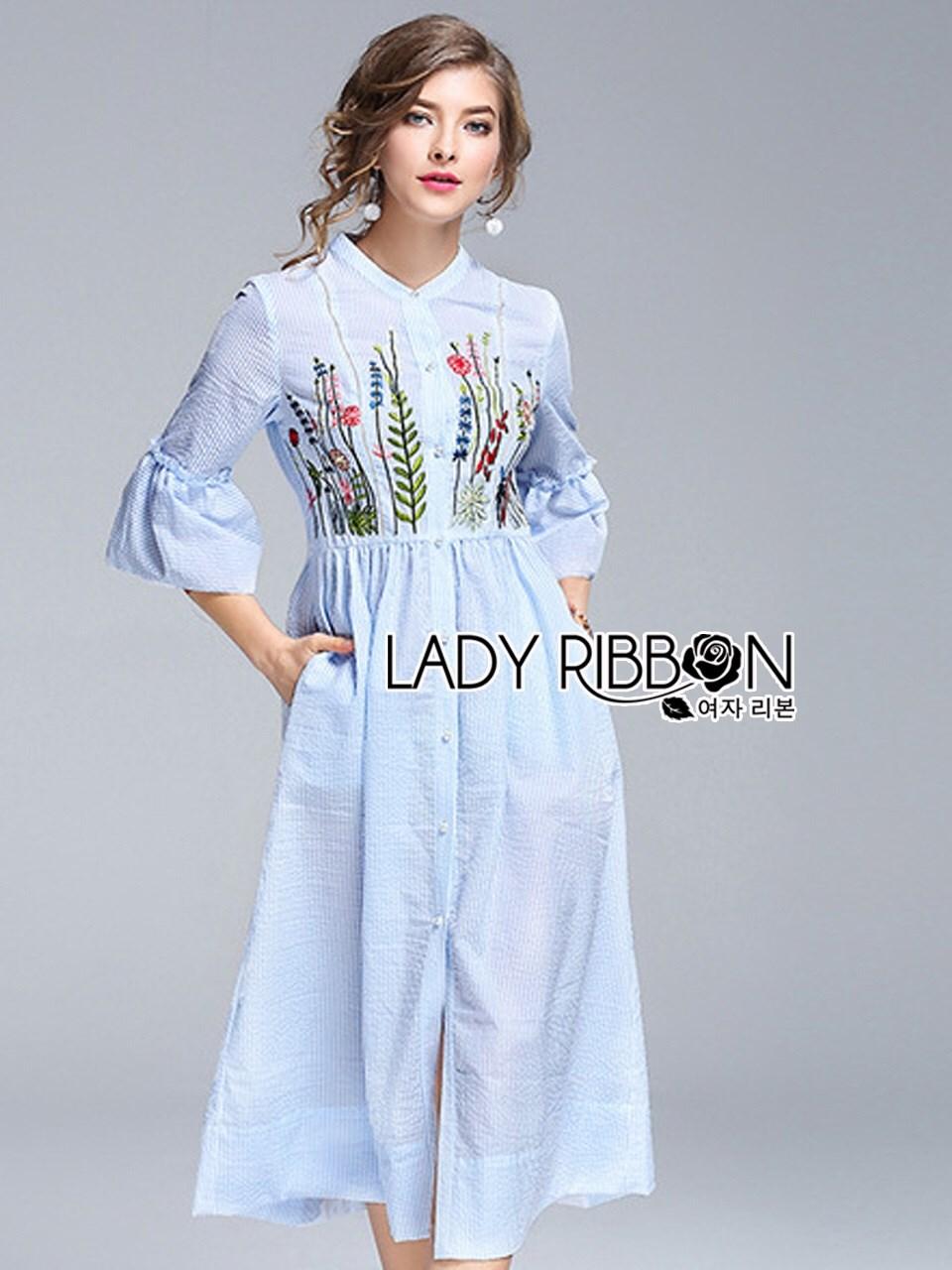เดรสผ้าคอตตอนลายทางสีฟ้าขาวปักลายดอกไม้สไตล์ซัมเมอร์