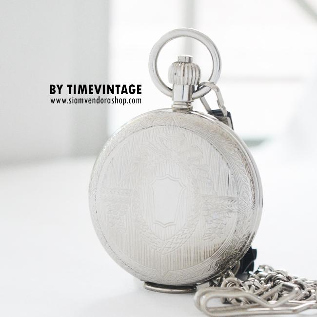 """นาฬิกาพกกลไกไขลานพรีเมียมตัวเรือนสีเงินเงาลาย """"Royal Roses Gift"""" ขนาดใหญ่"""