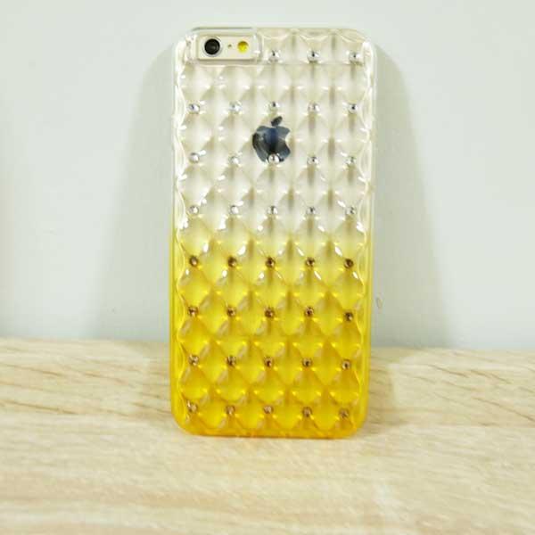 เคสไอโฟน 5/5s/SE ยางประดับเพชร สีเหลือง