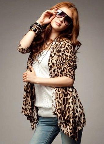 เสื้อคลุมแขนยาวลายเสือโทนสีน้ำตาล