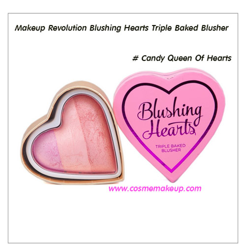 Makeup Revolution Blushing Hearts Triple Baked Blusher สี Candy Queen Of Hearts สีชมพูสดใส 10 g.