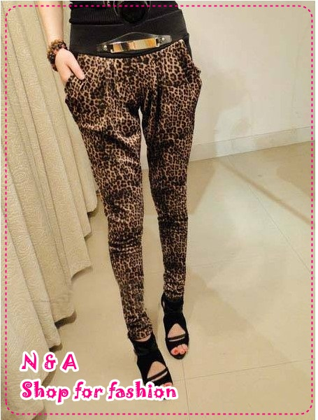 กางเกงขายาวลายเสือดาว Spring and summer of 2012 the Korean version of the new Women Slim thin personality Leopard feet harem pants trousers