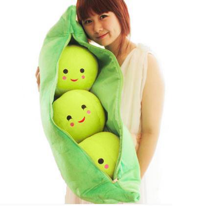 ตุ๊กตาถั่วลันเตา ไซด์จัมโบ้ เมล็ดสีเขียว