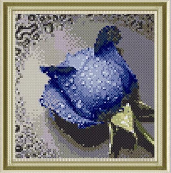 """1073 ภาพ diamond """"กุหลาบสีน้ำเงิน"""""""