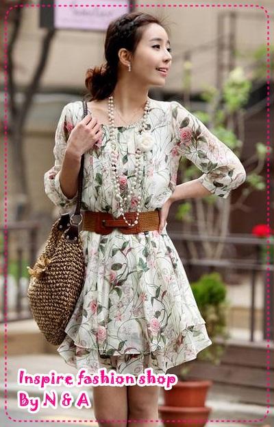 เดรสแขนสามส่วนลายดอกไม้สีเขียว Spring and summer of 2012 the new Women Korean sweet lady Saika sleeve chiffon dress