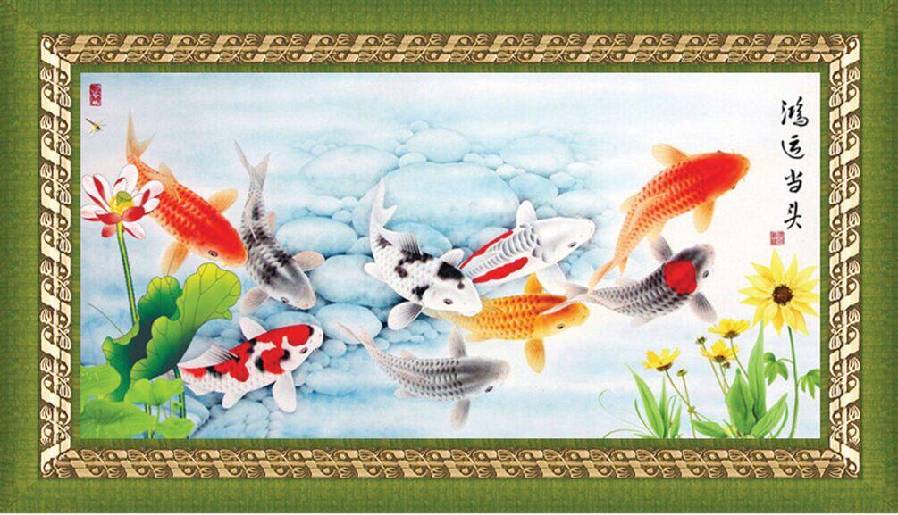"""1247 ภาพ diamond """"ฝูงปลาคาร์ฟกับดอกไม้"""""""