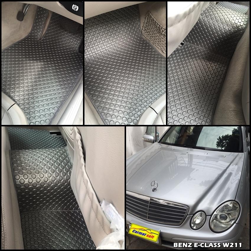 ยางปูพื้นรถยนต์ BENZ E-CLASS W211 พรมลายกระดุม สีเทา เข้ารูป 100%