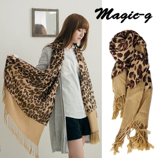 [Preorder] ผ้าพันคอแฟชั่นลายเสือดาว สีน้ำตาล Romantic micro-autumn to charming focus chiffon leopard X cotton plain fringed the double long scarf