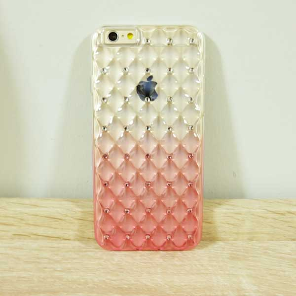 เคสไอโฟน 5/5s/SE ยางประดับเพชร สีชมพู