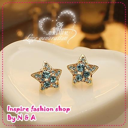 ตุ้มหูดาวสีฟ้า South Korea Korea, love ornaments discipline - marine blue earrings, Europe and the United States retro earrings earrings female jewelry