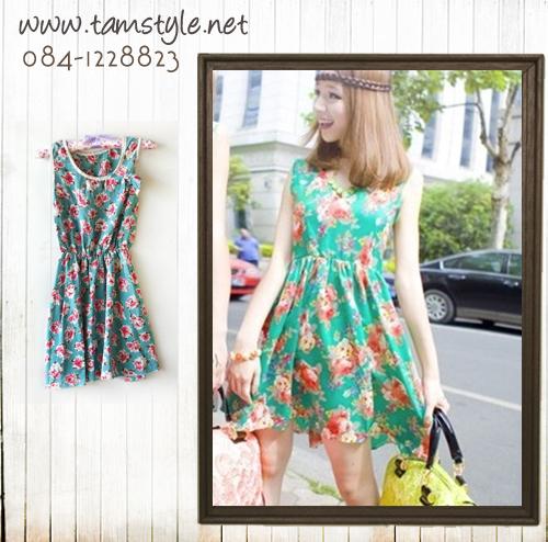 Dress017-เดรสแฟชั่น-เดรสแขนกุดผ้าชีฟองเนื้อหนาลายดอกไม้ แต่งโบว์ จั้มเอว สีเขียว รอบอก 32-35 นิ้ว ความยาว 30 นิ้ว