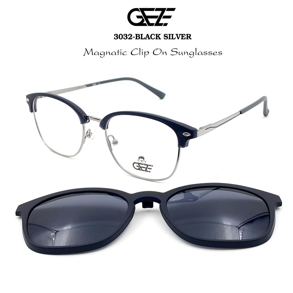 กรอบแว่นตากรองแสง ฟรี คลิปออนกันแดดสีดำ Polarized GEZE 1ClipOn รุ่น 3032 สีดำ ขาสีเงิน ป้องกันแสงแดด รังสี UVA UVB UV400 ลดอาการแสบตา ได้อย่างดีเยี่ยม