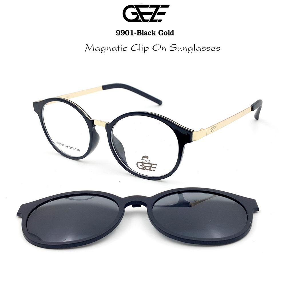 กรอบแว่นตากรองแสง ฟรี คลิปออนกันแดดสีดำ Polarized GEZE 1ClipOn รุ่น 9901 สีดำ ขาสีทอง ป้องกันแสงแดด รังสี UVA UVB UV400 ลดอาการแสบตา ได้อย่างดีเยี่ยม