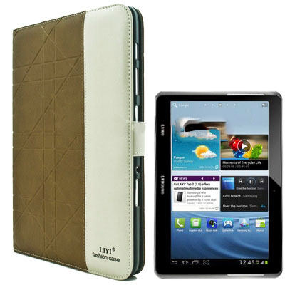 Case เคส 2-color Embossing Samsung Galaxy Note 10.1 (N8000) (Army Green)