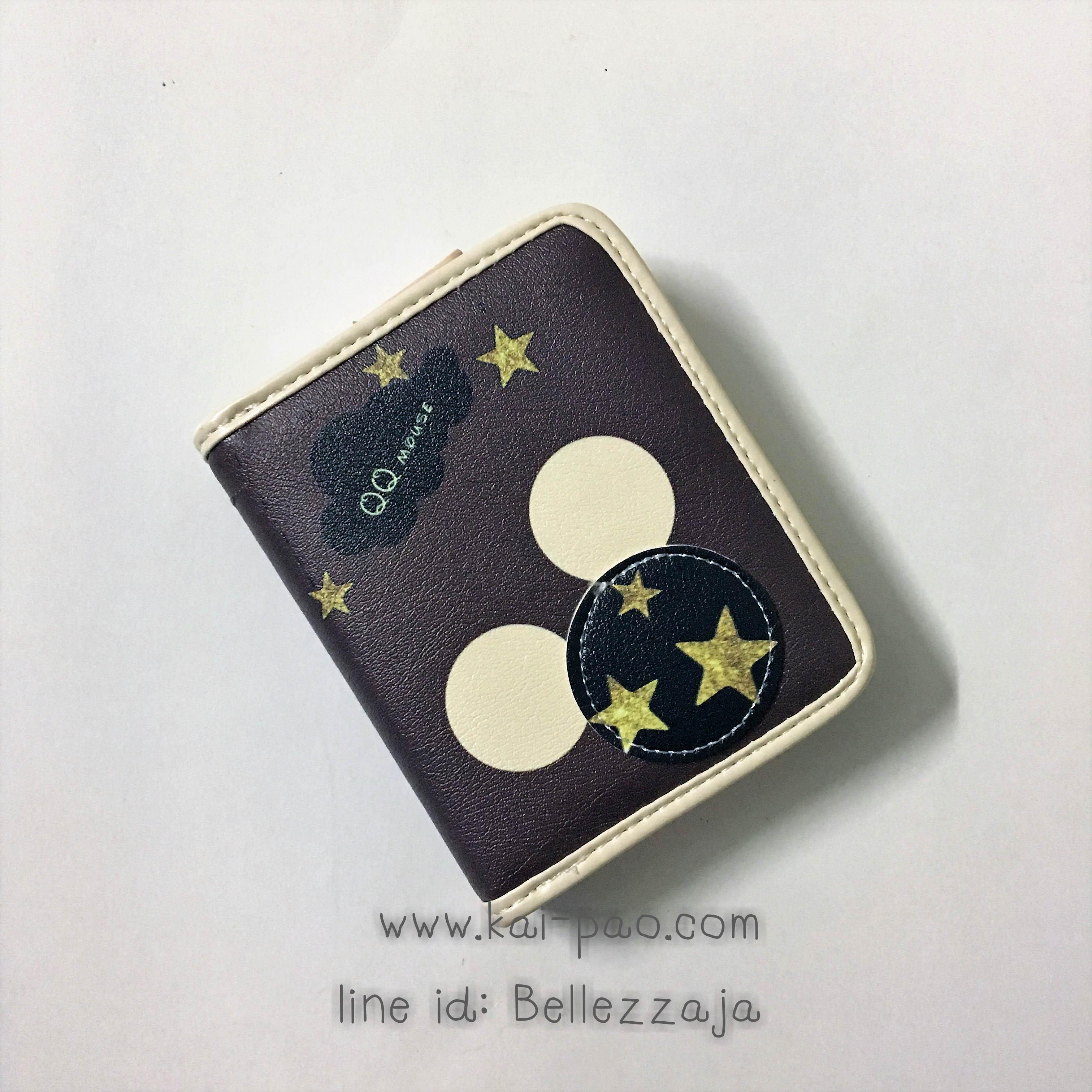 กระเป๋าสตางค์ใบสั้น QQ Mouse สีดำ ขนาด 2 พับ