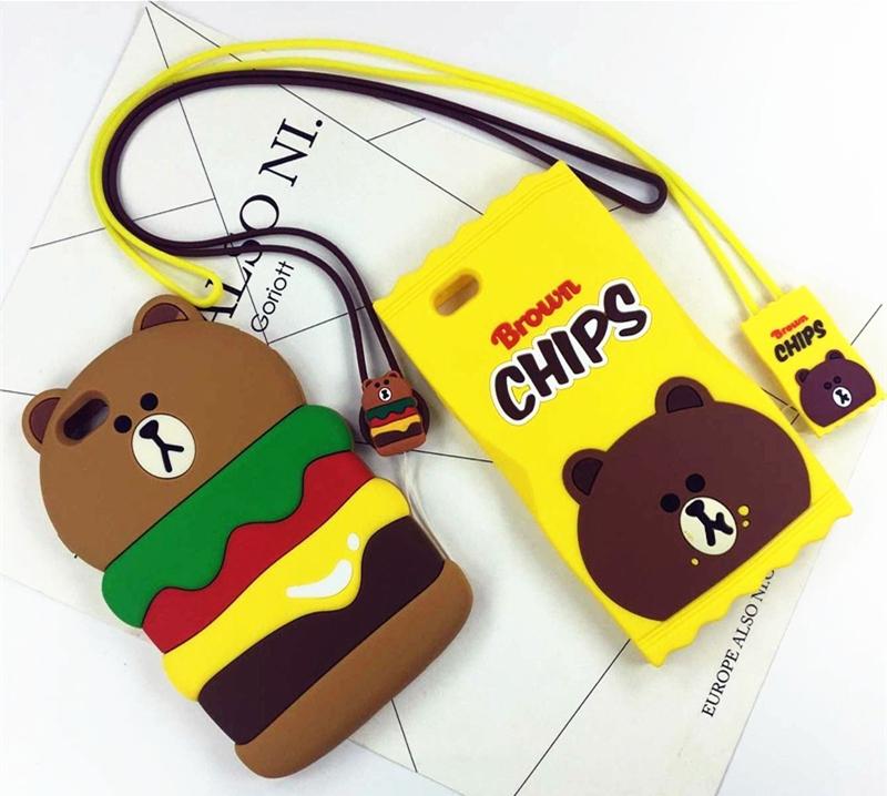 (513-009)เคสมือถือไอโฟน case iphone 5/5s/SE เคสนิ่มหมีแฮมเบอร์เกอร์และมันฝรั่ง