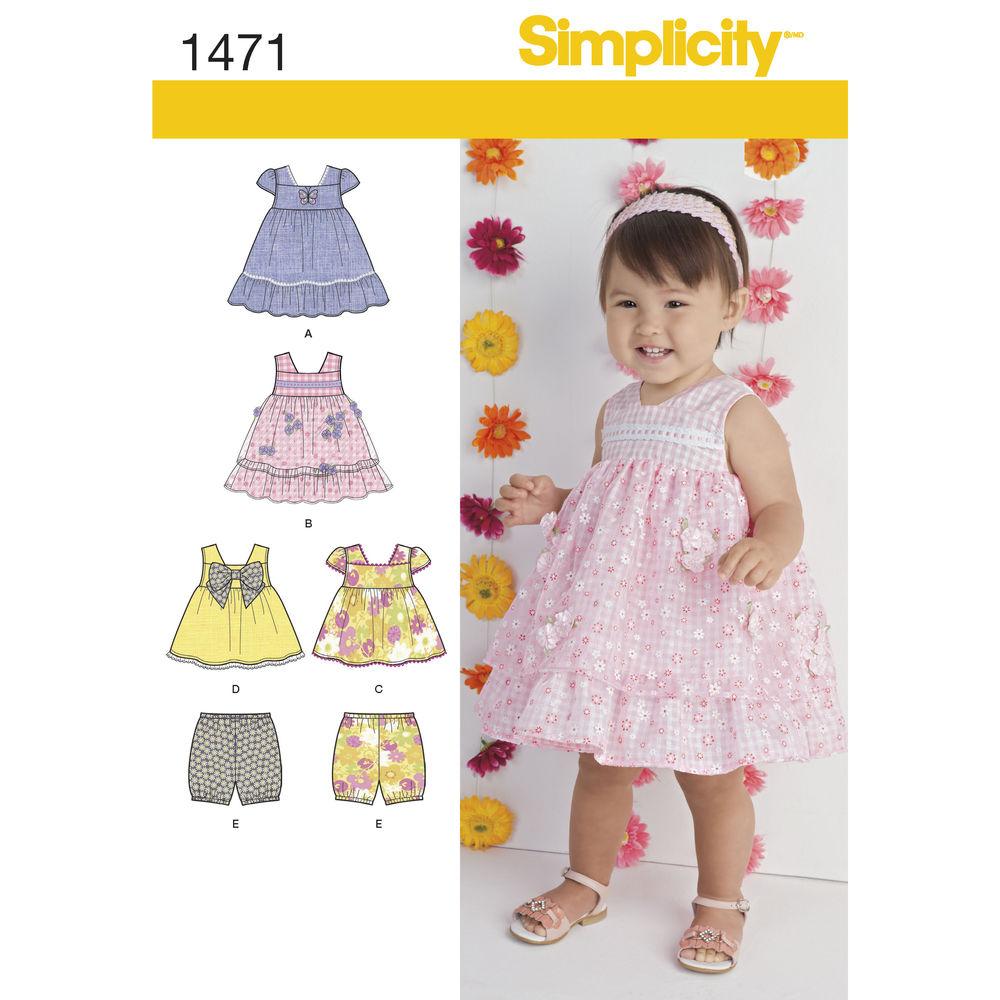 แพทเทิร์นตัดเดรส เด็กหญิง ยี่ห้อ Simplicity (1471) ไซส์ NB, 3M, 6M, 12M, 18M