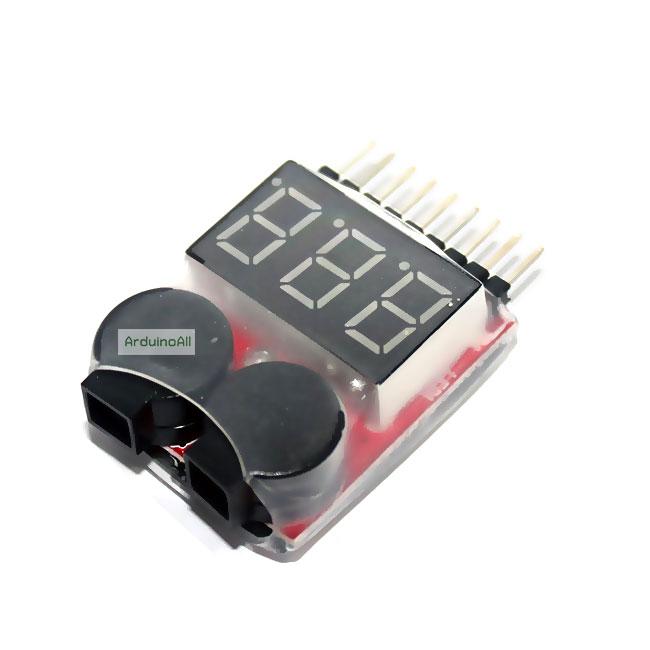 โมดูลวัดไฟ/เตือนแบต Lithium Lipo Battery Monitor + Buzzer Alarm