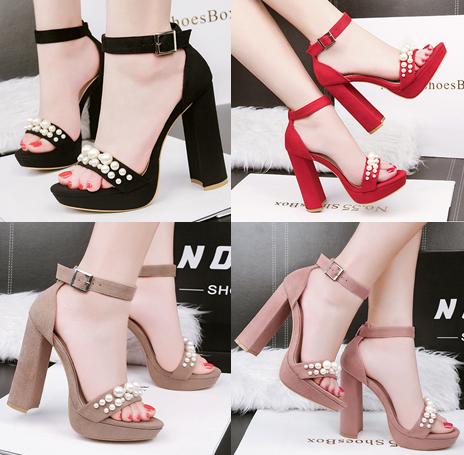รองเท้าส้นสูง ไซต์ 34-39 สีดำ/แดง/น้ำตาล/ชมพู