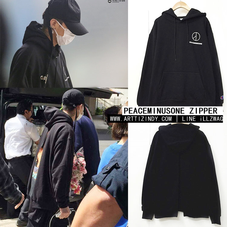 Hoodie PEACEMINUSONE Zipper Black Sty.GD -ระบุซต์-
