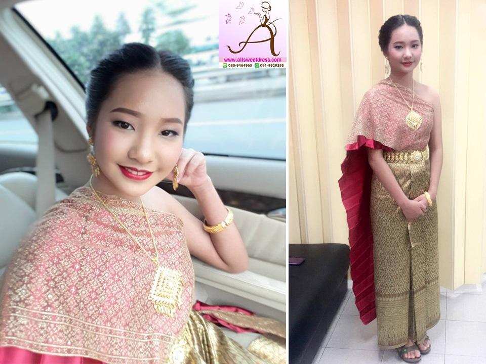 รีวิวชุดไทยสไบจีบสีแดงห่มสไบดิ้นทองทับพร้อมเครื่องประดับสวยหรูของร้านเช่าชุดไทย allsweetdress ฝั่งธน จากน้องแบมค่ะ